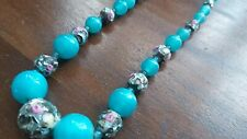 VINTAGE VENETIAN BLUE WEDDING CAKE  MURANO GLASS BEAD NECKLACE