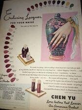 Chen Yu Nail Polish Art Deco Sexy Lady Hand  Original Ad 1935 Cosmetics