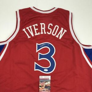 Autographed/Signed ALLEN IVERSON Philadelphia Red Basketball Jersey JSA COA Auto