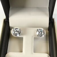 5Ct Cushion Diamond Studs Earrings Fancy White Man Made 14k Solid Gold W, Y or R
