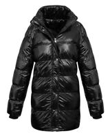 Ladies Womens Black Collar Quilted Long Warm Winter Padded Jacket Coat