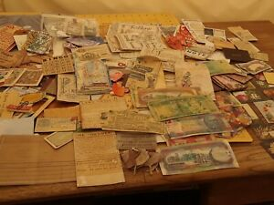 Vintage look scrapbooking lot embellishment dyed tags calling cards diecut