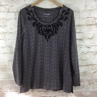 Soft Surroundings Women's Brown Herringbone Top w/ Velvet Detailing Size Large