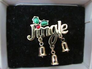 VINTAGE 1990's? NEW/box unworn AVON Jingle Bells pin broach brooch