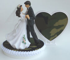 Wedding Cake Topper Camo Bride Groom Dancing Themed Camouflage Hunting w/ Garter