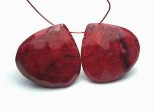 2 pcs GENUINE RUBY 24mm Faceted Teardrop Beads
