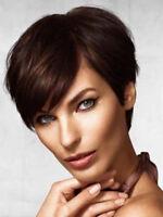 Women Short Straight Brown Brazilian Remy Human Hair No Lace Wig Pixie Cut Wigs
