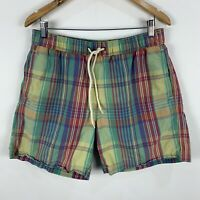 Ben Sherman Shorts Mens Medium Multicoloured Plaid Elastic Waist Drawstring