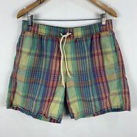 Ben Sherman Shorts Mens Medium Multicoloured Plaid Elastic Waist Drawstring