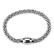 Silver Hollow Bubble Chain Link Bracelet with Magnetic Snap Closure