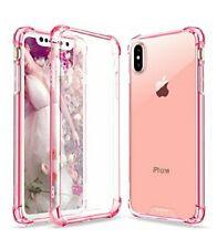 iPhone X Case  Crystal Clear Hard Back TPU Frame Rose