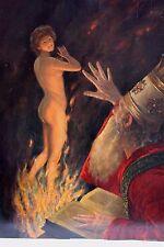 Hans Holtzbecher Mythologie Jungfrau im Feuer mit Priester 1921 (* 1861 † 1935)