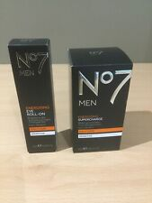 No7 Men Energising Supercharge Sensitive Daily Care 50ml + Eye Roll-on 15ml New
