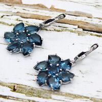 Natural London Blue Topaz Flower 925 Sterling Silver Fine Earrings 18.64 CT