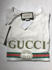e12948481 Gucci Vintage Spr 1980 Appliquéd Distressed Logo Print White T-shirt WMS 8  Large