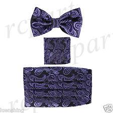 New In Box Brand Q Paisley Cummerbund Bowtie Hankie Set Wedding Black Purple