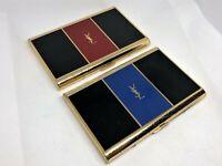 Vintage YVES SAINT LAURENT YSL Logo Cigarette Holder Case Set of 2 Blue / Red