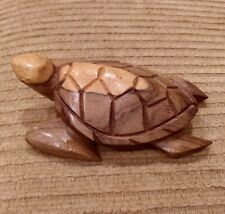 """Hand Crafted Wooden Sea Turtle 5"""" Figurine 2011"""