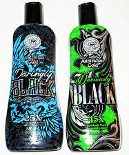Lot of 2 Deviously Black & Daringly Black Dark Tanning Lotion by Australian Gold