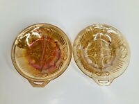 2 Vtg Indiana Glass 1 Handle Divided Dish MCM Bowl Relish Candy Golden Orange