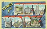 Greetings Howdy From New York Large Letter Linen Postcard Curt Teich