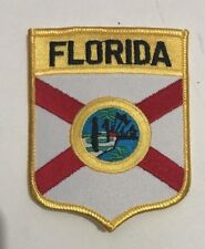 """Embroidered Florida Patch Shield Shape -Iron on 3.5"""" tall"""
