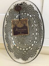 ARTISTIC ACCENTS MadeIn Turkey Hand Decorated Glass Plate Dish Oval Clear Gray