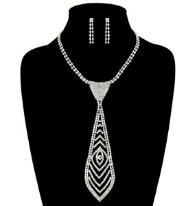 Rhinestone Clear Crystal Necktie Necklace and Dangle Earring Set 802s