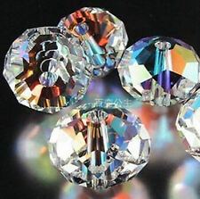 72pcs Clear Crystal Gem Beads 8mm AB Round Oval