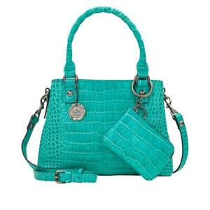 Patricia Nash Norcia Leather Crossbody with Zip Pouch AQUA Croc NWT Handbag NEW