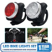 LUCE bici LED RICARICABILE set, testa di ricarica USB, RICARICABILE POSTERIORE