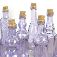 "Vintage Glass Bottles w/ Corks Set 10 Designs 5"" Tall PURPLE wedding favor NEW"