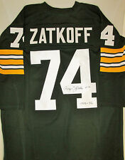 Packers ROGER ZATKOFF Signed Custom Green Throwback Jersey AUTO w/ 1953 - 56