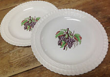 2256 Spode Copeland 2 Luncheon Plates Purple Grapes Wicker Basket Weave England