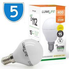 5x Quality 5w = 35w Cool Daylight White E14 LED Small Globe Screw Golf Ball Bulb