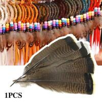 1 x Turkey Flower Tail Hair Natural Feather DIY Handmade HO Home DIY Party N6N3