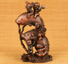 old boxwood hand carving fish kid money drawing statue figue netsuke decoration