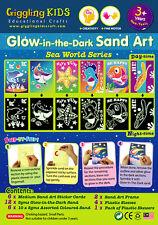Glow In the Dark Sand Art kit - Sea World theme (6 x Large card), au seller