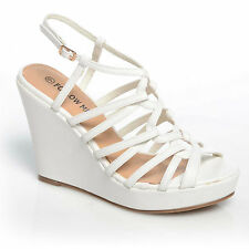 Women Ladies Fashion High Heel Wedges Ankle Strap Platform Shoes Size 3-8 White PU UK 4 EU 37