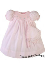 NWT Petit Ami Pink Bishop Smocked Baby Girls Dress Daygown Bonnet Newborn
