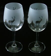 New etched Scottish Stag (highland scene) gift Wine Glasses Boxed