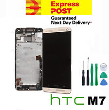 GENUINE Gold HTC One M7 LCD Digitizer Screen Replacement Assembly with Frame