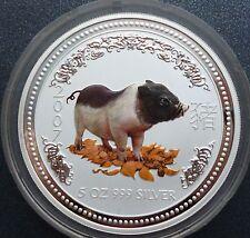 2007 Australian Lunar I Pig schwein 5 oz silver coloured COLOR 8 dollars