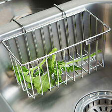 Stainless Steel Kitchen Sink Caddy Organizer Brush Soap Metal Hanging Rack