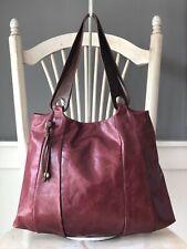 HOBO INTERNATIONAL Large Maroon Glazed Leather Hobo Tote Shoulder Bag Zip Pocket