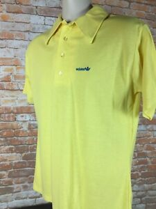 Vintage 1980's Adidas Men's Yellow Trefoil Polo Shirt Size XL G108