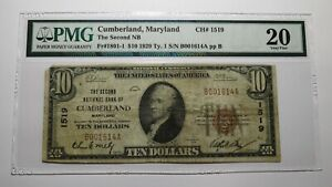$10 1929 Cumberland Maryland MD National Currency Bank Note Bill #1519 VF20 PMG