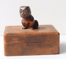 Vintage Handmade Carved Decorative Trinket/Jewelry Wooden Box Dog Ornamentation