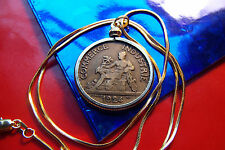 """Roaring 1920's French Art Franc Coin Pendant on a 24"""" Gold Filled Snake Chain"""