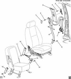 2007-14 Sierra Silverado Escalade Tahoe Front Seat Belt  Adjuster GM # 25901985